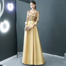 Luxury Sequined Party Long Dress Women Three Quarter Sleeve Elegant Satin Dress Gold Dark Green Burgundy Grey Mesh Sexy Dresses
