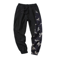 Man Cotton Linen Pants Mens Summer Ethnic Style Print Patchwork Pants Male Casual Jogger Trousers