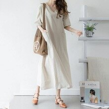 Summer Casual Office Ladies Japan Style Cotton Linen Loose Shirt Dress Women Maxi Dress Korean Daily Simple Solid Girl Dresses