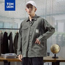 TONLION Cargo Style Mens Shirts Autumn New High Quality Solid Black Long Sleeve Men Shirt Jackets with Pockets Loose Casual Top