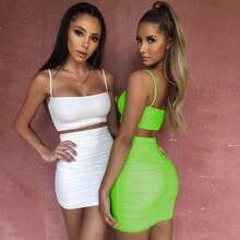 ZP Spaghetti Strap Two Piece Dress Women Ruched Pleated Bodycon Dress Short Strapless Summer Casual Party Dress Vestidos