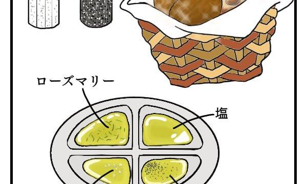 海外のレストランでよく出てくる、パンを食べる時にオリーブオイルが出てくるスタイルの絵