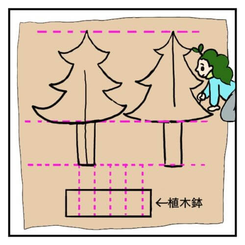 ダンボールでクリスマスツリーを作るため、下絵を描いている女性の絵