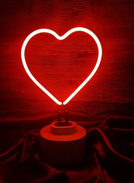lumosnap red neon love heart table lamp