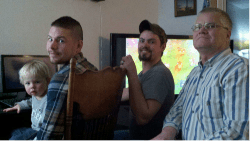 My nephew, me, my brother, and Dad (2011). The four of us watching oil field bloopers on Thanksgiving. The first time in 5 years we were together for a holiday.