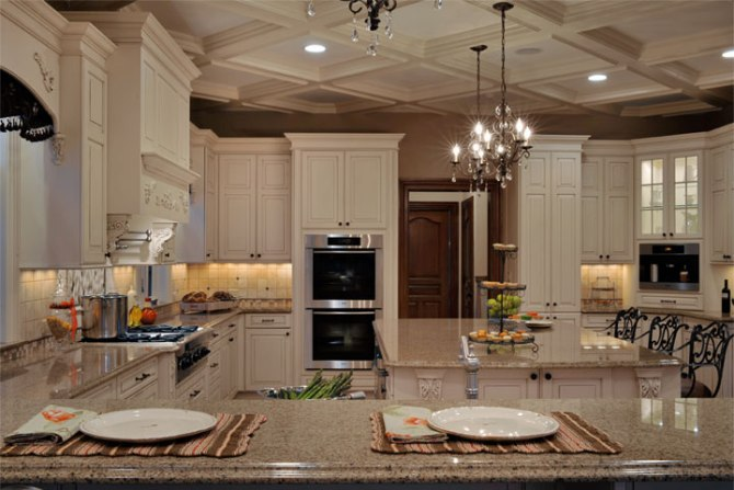 Elegant kitchen with coffer ceiling, Bing Image