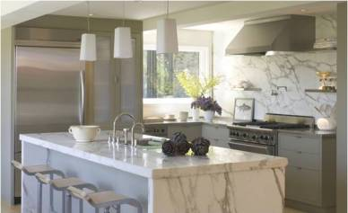 White Marble Counter Top by Hans Schuon