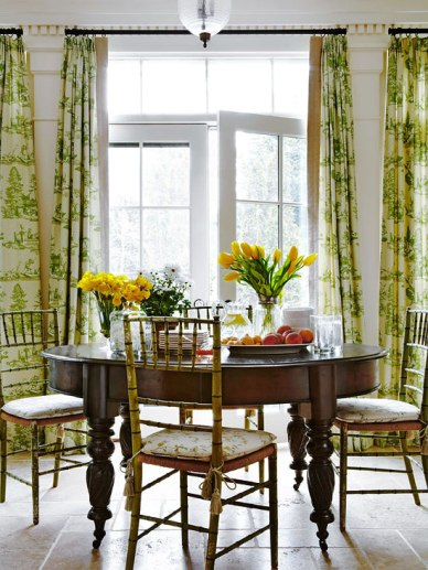 Hampton Summer Home wigh Cheerful Breakfast Room, Green/Ivory Draperies, Embroidered, Green/Ivory Toile by Jack Fhillips