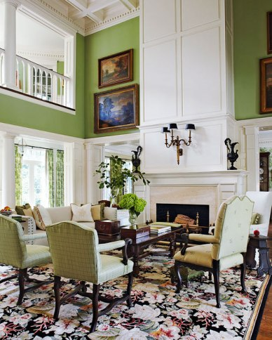Two-Story Living Room, Cotton Fabrics Bring Summer in by Jack Fhillips Design, Inc.