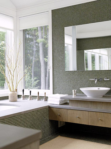 Contemporary Minimalism Bath w/Tiled Wall and Tub Surround, Floating Drawers, BHG
