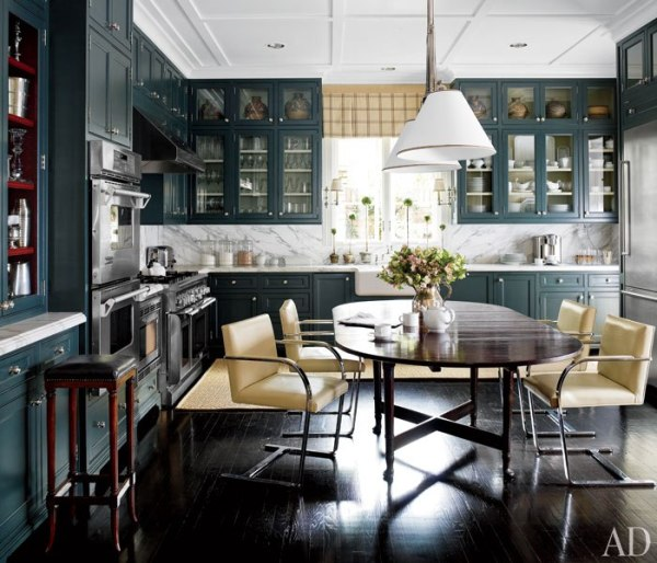 Amazing Kitchen Where Blended Styles Come Alive on Dark Hardwood Floors by J. Randall Powers