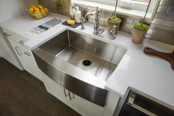 Home Trends 2016~Kitchen with Industrial Stainless Steel Apron Sink