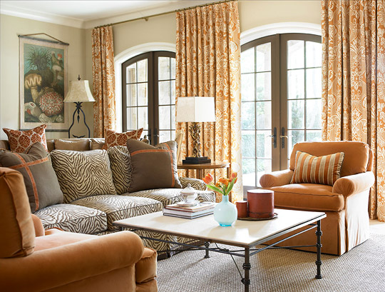 Family Room with Durable Fabrics & Colorful Scheme by Heather Dewberry & Will Huff