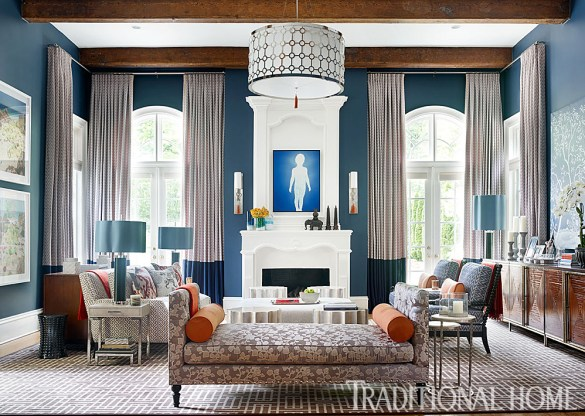 Den Walls Covered with Newburryport Blue-BM and Pops of Orange that Brightens the Room, Vern Yip