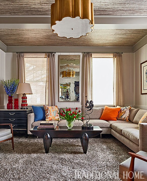 Family Room with Brights & Neutral Color, Alan Ferguson Interiors