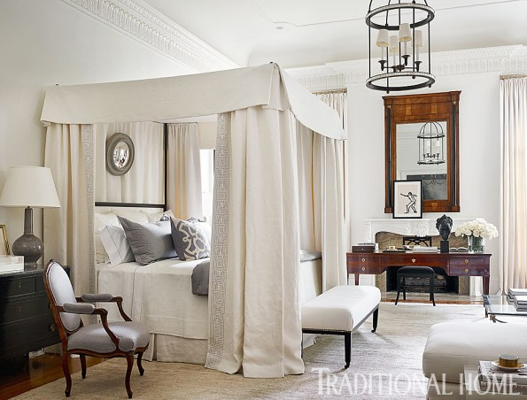 Master Bedroom Showcases Wood Tones against Winter White and Pearl-Gray Color Hues, Hammered Bronze Lantern a Perfect Fit, by Robert Brown