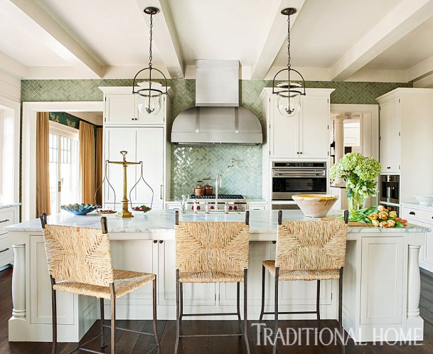 Casual Kitchen with Painted Beam Ceiling, Wide-Planked Oak Flooring