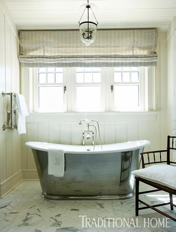 Master Bath with Shiplap Siding & Antiqued Nickel Soaking Tub