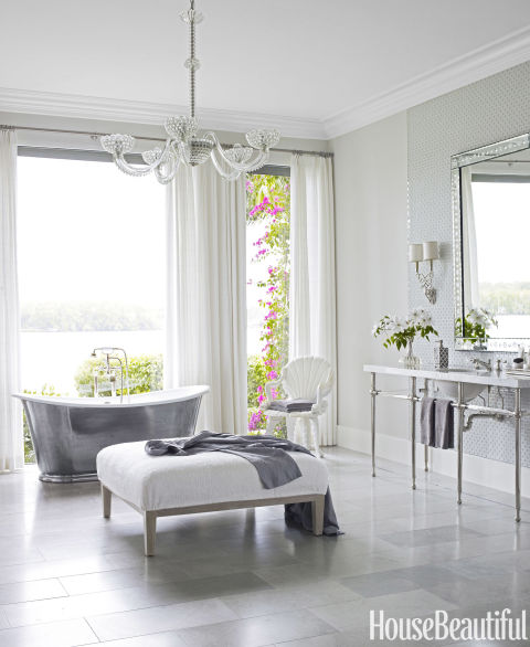 Glamorous Gray Spa-Like Oasis Master Bathroom with Waterworks Cast-Iron Tub, Marshall Watson