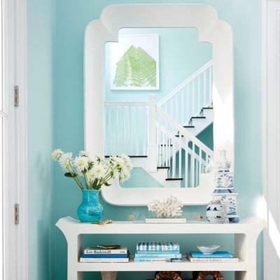Foyer with Walls Finished in Spring Sky, Benjamin Moore