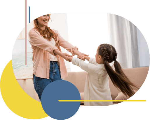 Mother and daughter joined at the hands with arms outstretched, spinning around in play. Mother is imagining what life could be like after a family mediation process.
