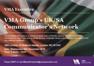 VMA Group's UK/SA Communicator's Network banner
