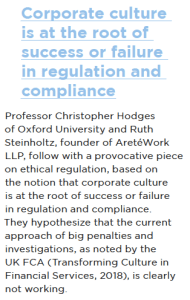 Excerpt from the 2018 ICC Global Survey on Trade - Ethical Business Practice - Corporate culture is at the root of success or failure in regulation and compliance