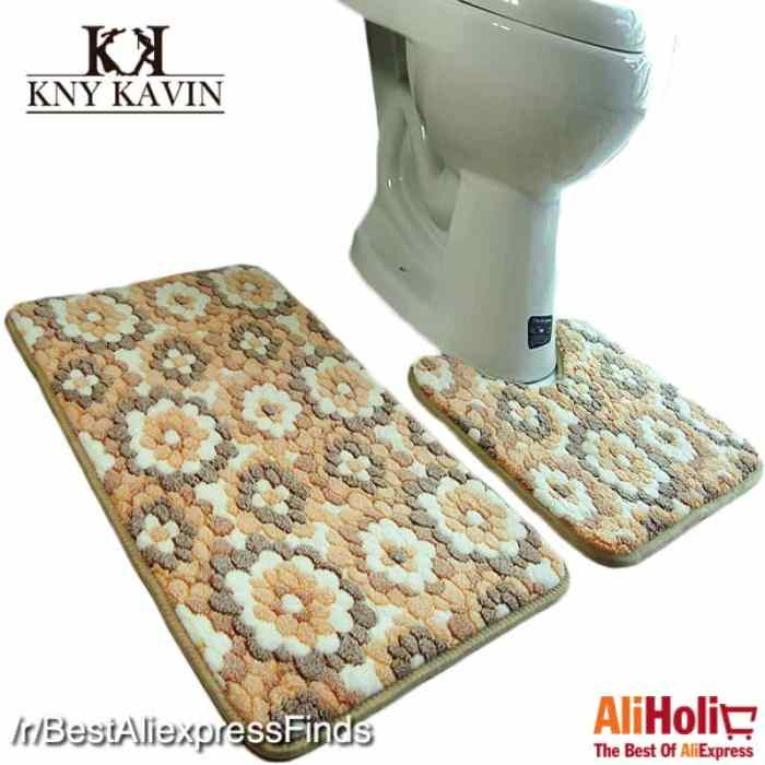 2 Piece bathroom rug set