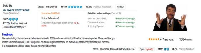 AliExpress seller feedback