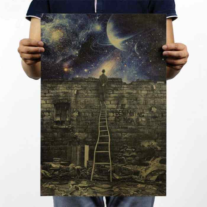 wall-sticker-metaphor-beginning-is-near-retro-posters-motivational-poster-hanging-decorative-painting-classic-poster-walls