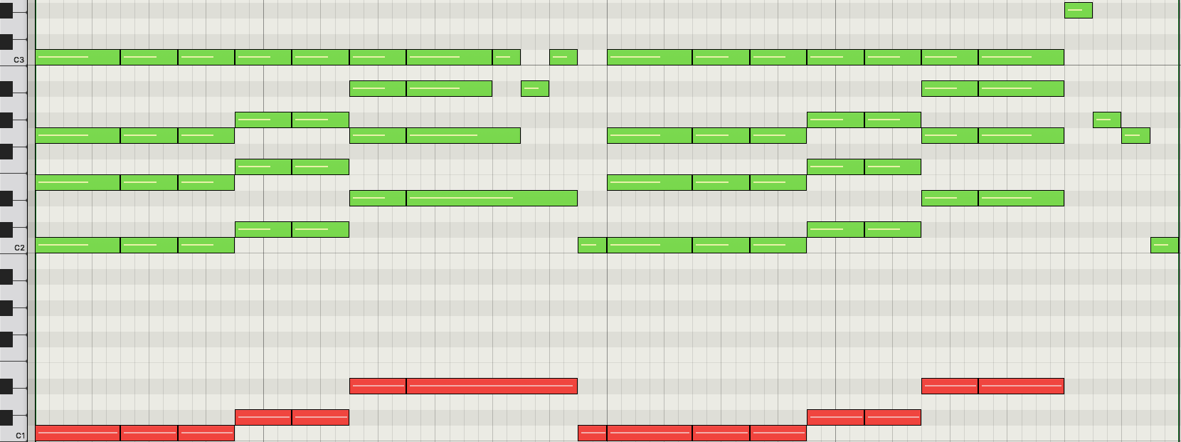 Chord of the day everything in its right place zeroes and ones heres the piano roll with the left hand highlighted in red hexwebz Choice Image