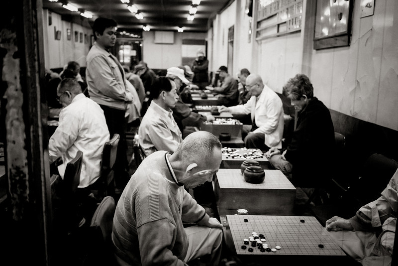 Old People playing Igo or Go