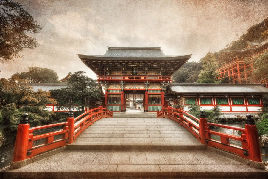 The Yutoku Inari Shrine This is a pretty epic location in Southern Japan. And it's not that old surprisingly. For this photo I used an HDR processing technique mixed with texture blending to give it a gritty aged look. By Alik Griffin