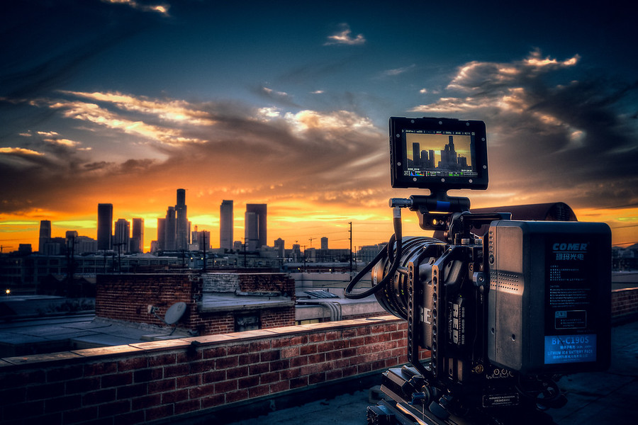 Epic And A Sunset. Epic Sunset in Los Angeles. The camera in the foreground is the Red Epic. It was an amazing and rare night in Los Angeles. I'm glad I brought along my 5D to get some stills as well.
