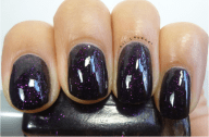 Night Prowl- 2 Coats (Applied a shiny top coat on top so make the pink glitter more vibrant in pictures)