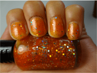 Penny For Your Thoughts-2 Coats. This is a orange shade with holographic hex glitter and super fine holo bar glitter and iridescent glitter.