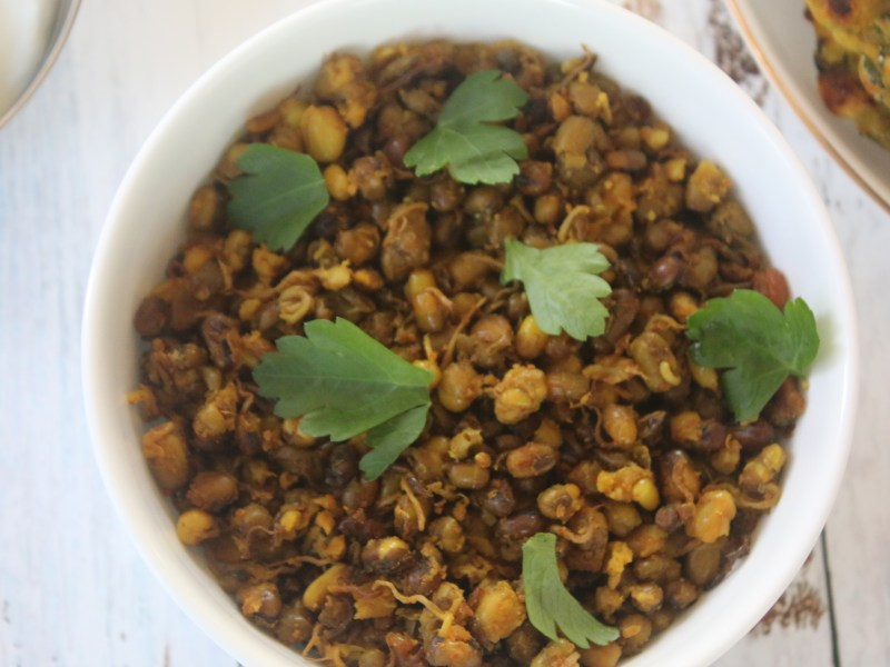 Sprouted Moong Beans Sabzi Gujarati Style