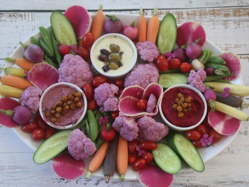 Spring Crudites Platter with Hummus Two Ways