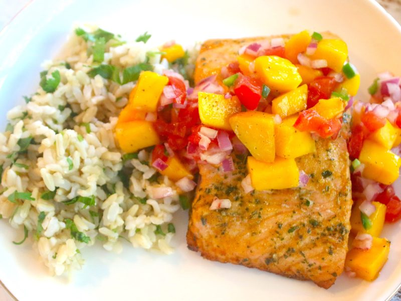 Citrus Herb Salmon with a Mango Pico and Cilantro Lime Rice