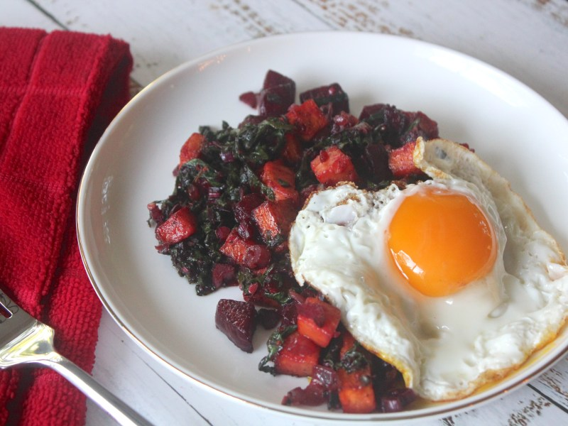 Sweet Potato and Beet Hash with Fried Eggs