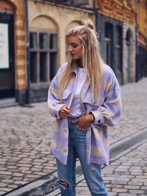 Куртка-рубашка в клетку в стиле oversize