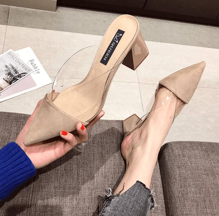 Туфли-мюли с прозрачными деталями