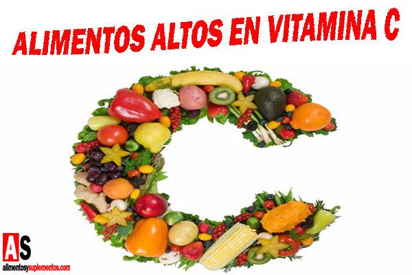 Alimentos altos en vitamina C