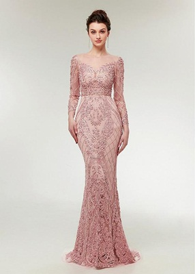 Pudra dantelli abiye elbise modelleri