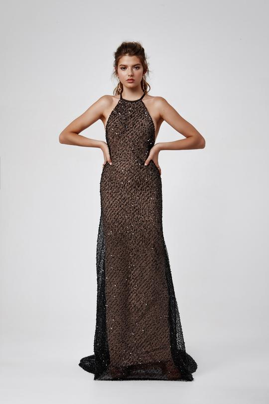 transparan siyah abiye elbise modelleri
