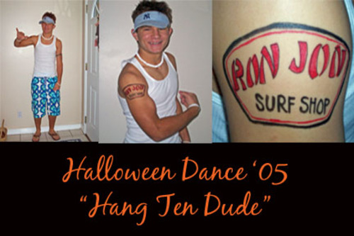 I drew a Ron Jon Surf Shop tattoo on his arm and off he went!