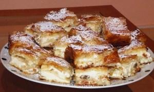 Prăjitură delicioasă cu urdă şi stafide