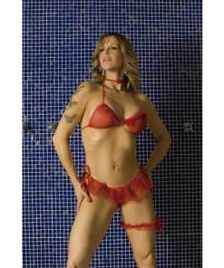 Conjunto Daminha de Vermelho 4 peças Aline Lingerie