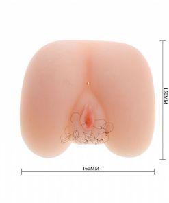Masturbador em Formato de Bunda com Vagina e Ânus em CyberSkin com Vibrador 17 cm