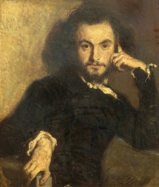 dandy: in Baudelaire, this is a compliment, as you might guess from this painting of him by Emile Deroy from 1844. Picture source: Wikipedia.